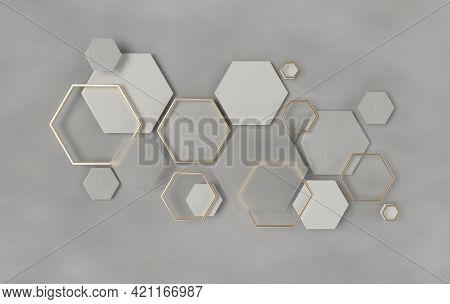 Hexagonal Abstract Background, Depth Of Field Effect. Modern Cellular Honeycomb 3d Panel With Hexago