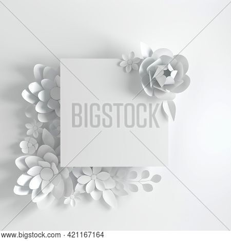 Paper Elegant White Flowers On White Background. Valentine's Day, Easter, Mother's Day, Wedding Gree