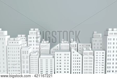 White Paper Skyscrapers. Achitectural Building In Panoramic View. Modern City Skyline Building Indus