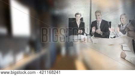 Happy male and female business people shaking hands and clapping in office with motion blur. global business, partnership and success concept digitally generated image.
