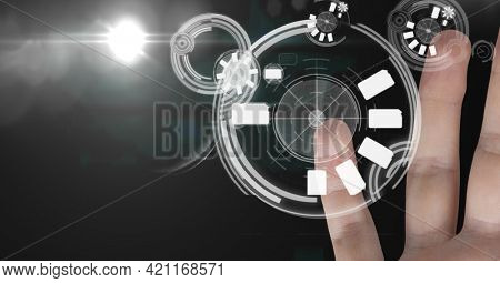 Composition of hand being scanned for id verification on interface touchscreen. global communication, security and digital interface concept digitally generated image.