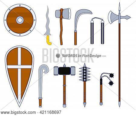 Set Of Realistic Warrior Sword Or Cross Swords Shield Or Axe Sword Cartoon Shield Or Realistic Keris
