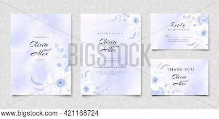 Set Of Watercolor Blue Floral Wedding Invitation Card, Save The Date, Thank You, Rsvp Template. Vect