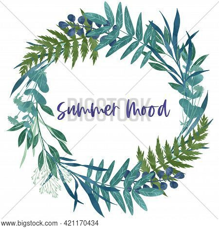 Wild Floral Wreath With Ferns And Leaves, Hand Drawn