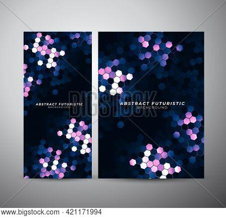 Art Hexagons Technology Background. Abstract Hi-tech Communication Concept Futuristic Digital Innova