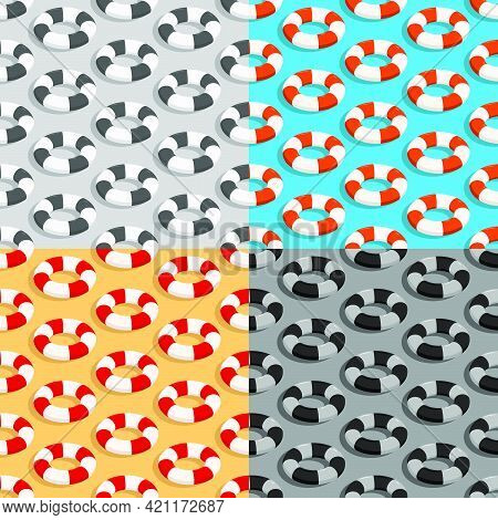 Set Of Seamless Patterns With Red White Life Buoy. Ornament For Decoration And Printing On Fabric. D