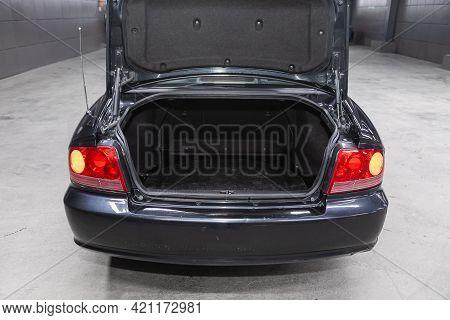 Novosibirsk, Russia - May 16, 2021: Hyundai Sonata, Rear View Of A Car With An Open Trunk. Exterior