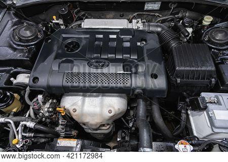 Novosibirsk, Russia - May 16, 2021: Hyundai Sonata, Close Up Detail Of  Car Engine, Front View. Inte