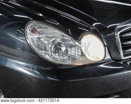Novosibirsk, Russia - May 16, 2021: Hyundai Sonata, Detail Light Close Up Of On New Car. Exterior De