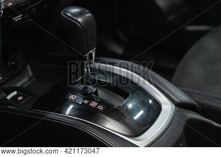Novosibirsk, Russia - May 16, 2021: Nissan X-trail, Car Detailing. Automatic Transmission Lever Shif