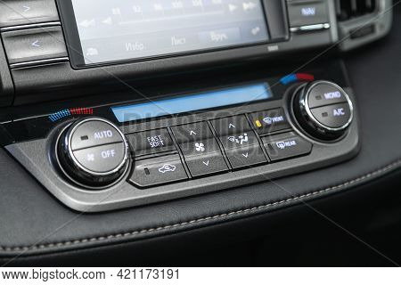 Novosibirsk, Russia - May 16, 2021: Toyota Rav-4, Black Detail With The Air Conditioning Button, The