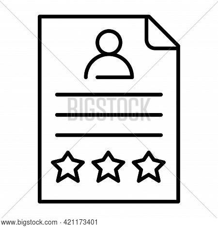 Monochrome Summary Icon Vector Illustration. Job Application, Cv Document, User Employee Interface