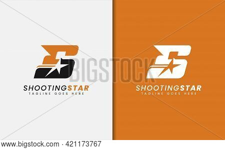 Abstract Initial Letter S Combined With Shooting Star Silhouette Inside Logo Design. Graphic Design