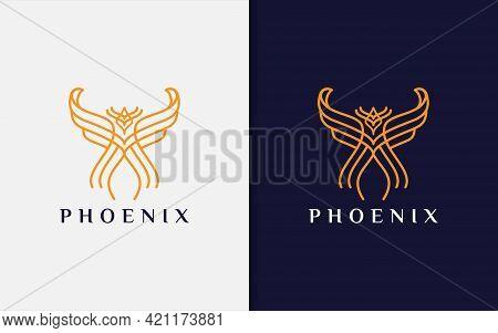 Abstract Orange Phoenix Made From Modern Lines Combination Logo Design. Vector Logo Illustration. Gr