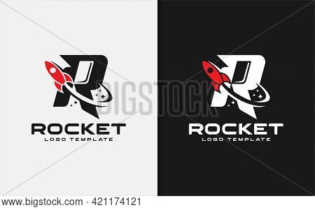 Abstract Initial Letter R Logo Combined With Flying Rocket Silhouette Logo Design. Graphic Design El