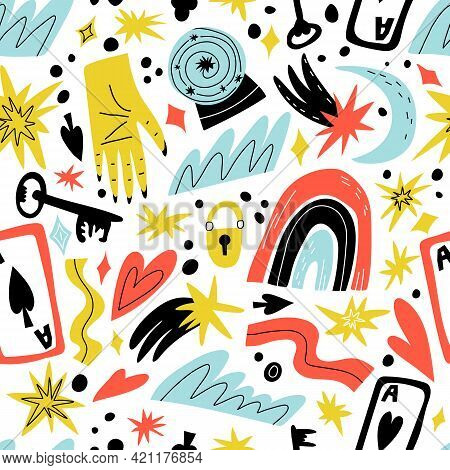 Esoteric, Mysterious Seamless Pattern. Future Telling, Palm Reading, Falling Star, Fortune, Luck Sym