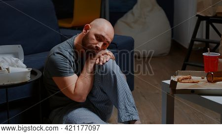 Depressing Unhappy Hopeless Worried Man Sitting On Floor Feeling Frustrations Loneliness Vulnerable