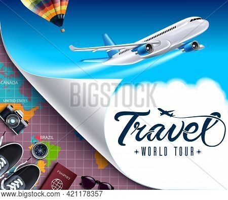 Travel World Tour Vector Banner Design. Travel World Tour Text With Travelling And Adventure Element