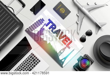 Travel Vector Background Design. Travel Text In Card Flyer Space For Message With Camera, Laptop, Pa