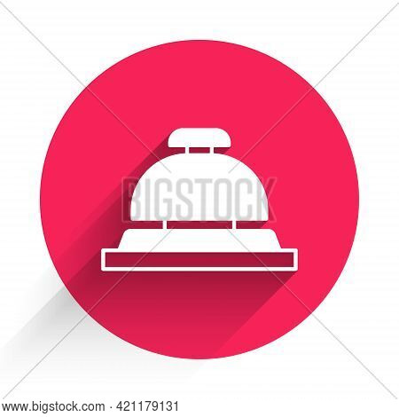 White Hotel Service Bell Icon Isolated With Long Shadow. Reception Bell. Red Circle Button. Vector