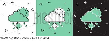 Set Cloud With Snow And Sun Icon Isolated On White And Green, Black Background. Cloud With Snowflake