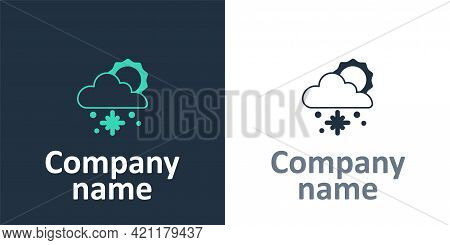 Logotype Cloud With Snow And Sun Icon Isolated On White Background. Cloud With Snowflakes. Single We