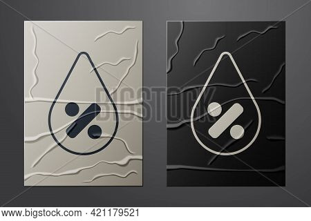 White Water Drop Percentage Icon Isolated On Crumpled Paper Background. Humidity Analysis. Paper Art