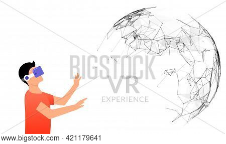 Vr Vector Reality Illustration. Virtual Reality Vector Flat Concept