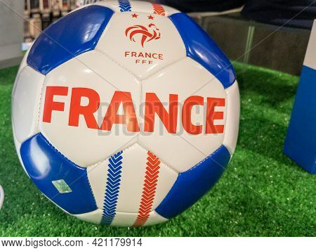 Bordeaux , Aquitaine France - 05 18 2021 : Fff French Football Soccer Ball With National Flag Of Fra
