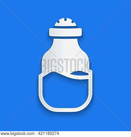 Paper Cut In Can Icon Isolated On Blue Background. Seasoning Collection. , Condiments In A Glass Can