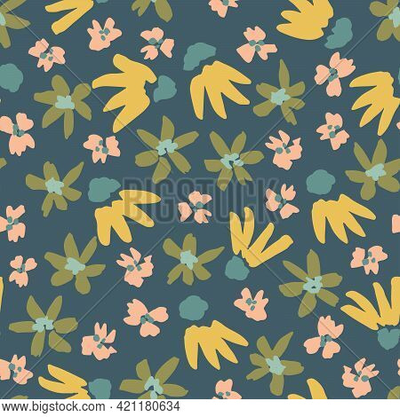 Ditsy Glow Floral Seamless Vector Pattern. Ditsy Flowers In Different Shapes Scatterd In Glowy Yello