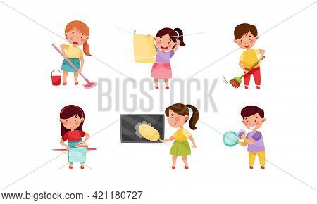 Little Boy And Girl Ironing And Sweeping The Floor With Broom Vector Set