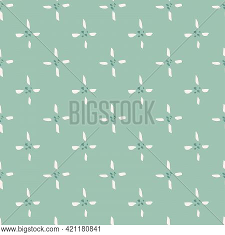 Star Light Floral Seamless Vector Pattern. Simple Four Petal Flower With Straight Petal Looking Like
