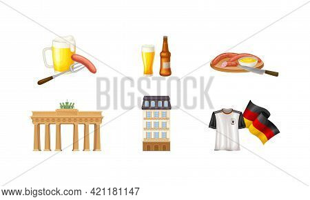Germany Attributes With Brandenburg Gate And Mug With Lager Or Beer Vector Set
