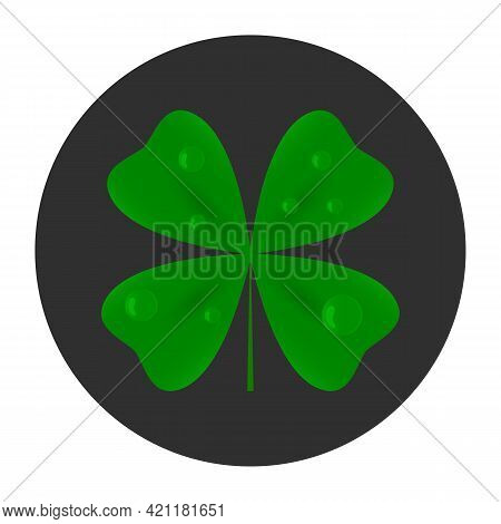 Four Leaf Clover Icon. Luck Symbol. Vector.