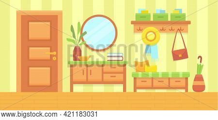 Summer Sunny Hall Interior. Cozy Home Hallway With Door, Mirror And Modern Furniture. House Entrance