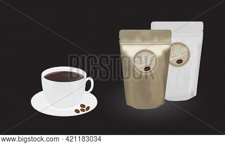 Gold And White Packaging Aluminum Foil Zipper Coffee Beans Pouch And A Cup Of Coffee On Black Backgr