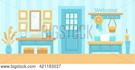 Blue Hall Interior. Cozy Home Hallway With Door, Mirror And Modern Furniture. House Entrance Backgro