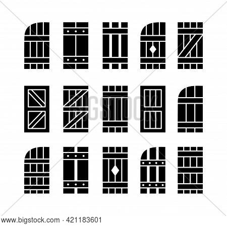 Outdoor Rustic Window Wooden Shutters. Flat Icon Set. Old Board Window Blinds For House And Cottage.