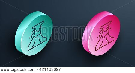 Isometric Line Volcano Eruption With Lava Icon Isolated On Black Background. Turquoise And Pink Circ