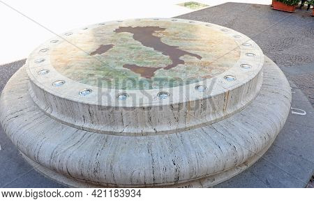 Rieti, Ri, Italy - August 19, 2020: Old Monument Called Umbilicus Italiae On The Geographical Center