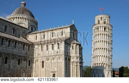 Pisa, Pi, Italy - May 21, 2019: Leaning Tower And Cathedral