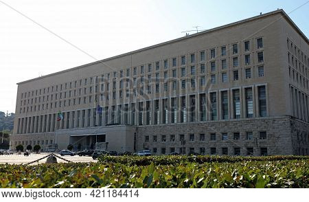 Rome, Rm, Italy - August 15, 2020: Palace Of Farnesina Italian Ministry Of Foreign Affairs