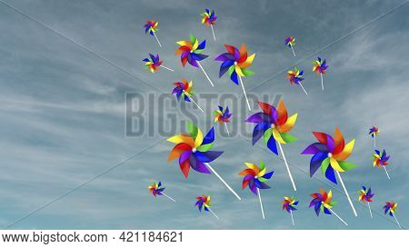 Colorful Blades Turbines Flying On White Fluffy Cloud, Paper Rainbow Windmill Drawing Illustration D