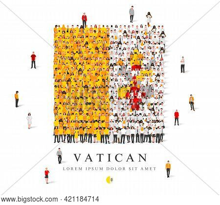 A Large Group Of People Are Standing In Yellow, White And Red Robes, Symbolizing The Flag Of The Vat