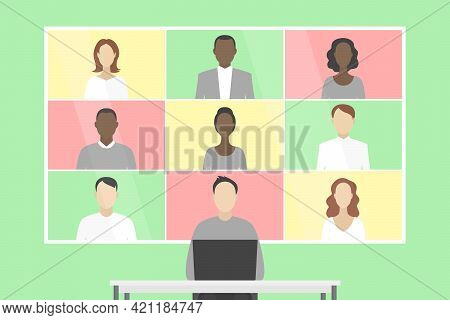 Group Video Chat On Wall Screen. Teleworking. Vector Illustration.