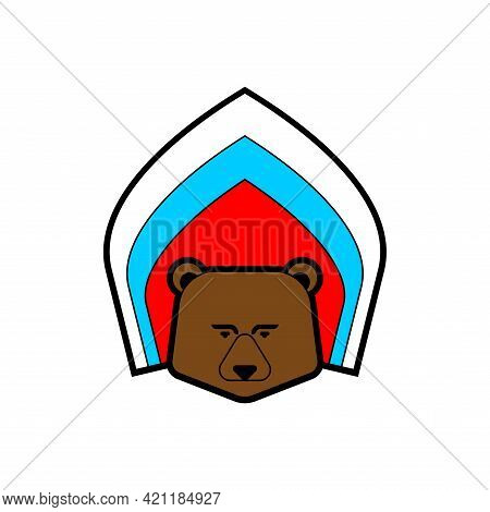 Russian Bear In Kokoshnik. Russian National Cap Symbol. Traditional Icon Beast Of Russia