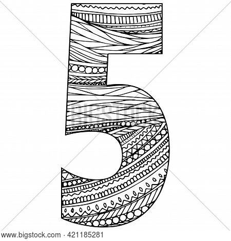 Zentangle Stylized Alphabet - Numeral 5. Black White Hand Drawn Doodle. Ethnic Pattern. African, Ind