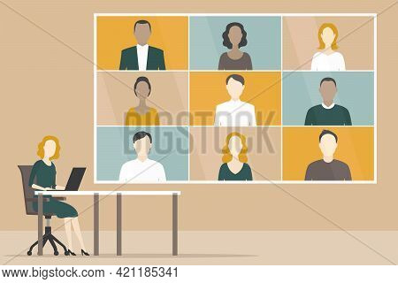 Group Video Conference. Distant Work. Vector Illustration.