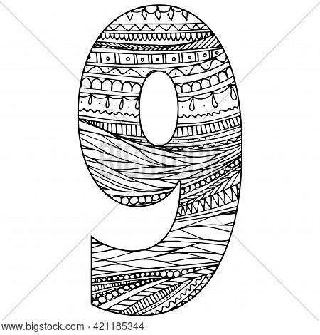 Zentangle Stylized Alphabet - Numeral 9. Black White Hand Drawn Doodle. Ethnic Pattern. African, Ind